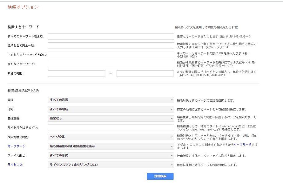 google検索オプションサイト