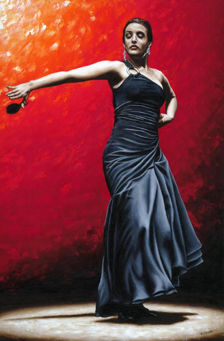 La Nobleza del Flamenco - Fanny Ara (The Nobility of Flamenco). Fine art original oil painting on a 91cm x 61cm stretched canvas created in 2009 using a knife. Produced in cooperation with Fanny and Alliance Francais de Washington. Original available. Framed = £1,598