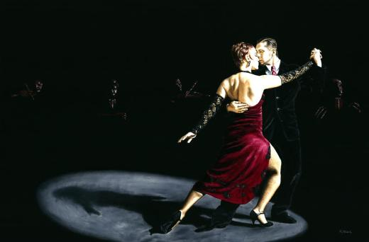 The Rhythm of Tango. Fine art original oil painting on a 91cm x 61cm stretched canvas created in 2006 using a knife. Produced in cooperation with Natalie Laruccia, Walter Perez and Sandra Antognazzi. Original available.