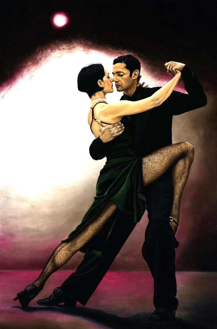 Dancers - Tango and Ballroom Gallery. The Temptation of Tango. Fine art original oil painting on a 91cm x 61cm stretched canvas created in 2006 using a knife. Produced in cooperation with Natalie Laruccia, Walter Perez and Sandra Antognazzi. Original available. Framed = £1,213