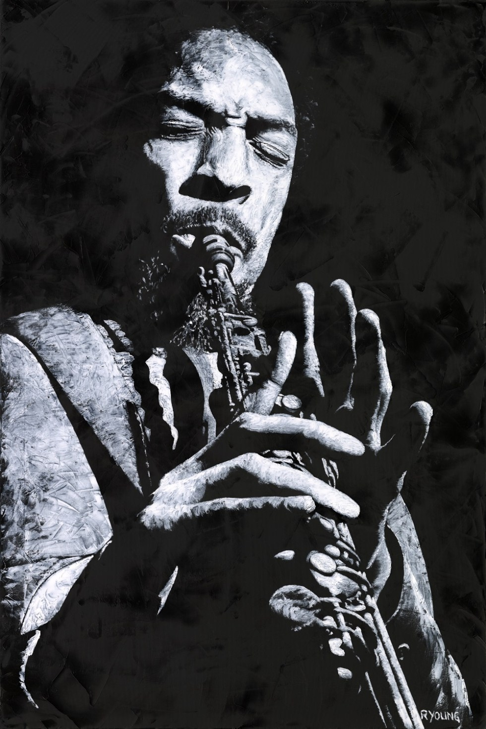 Musicians and Singers Art Gallery. Freedom in Sax - Sam Rivers. Fine art original oil painting on a 91cm x 61cm stretched canvas created in 2018 using a knife. Produced in cooperation with Michael Cuscuna and Mosaic Records. Original available via Headrow Gallery, 588 Harrogate Road, Alwoodley, Leeds , West Yorkshire LS17 8DP. Contact Max on 07969575747. Framed = £1,495