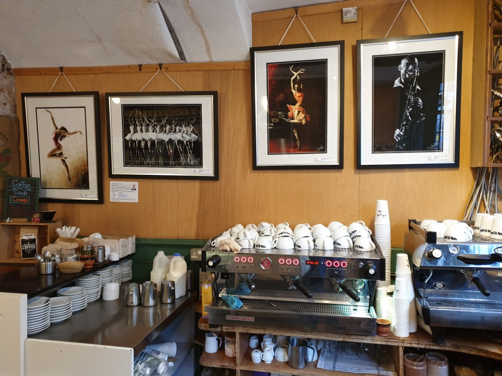 Fine Art Giclee Prints: Freedom, Dance Emotion, The Passion of Dance and Sax Player A2 prints on paper in The Workhouse Coffee Company café in Berkshire