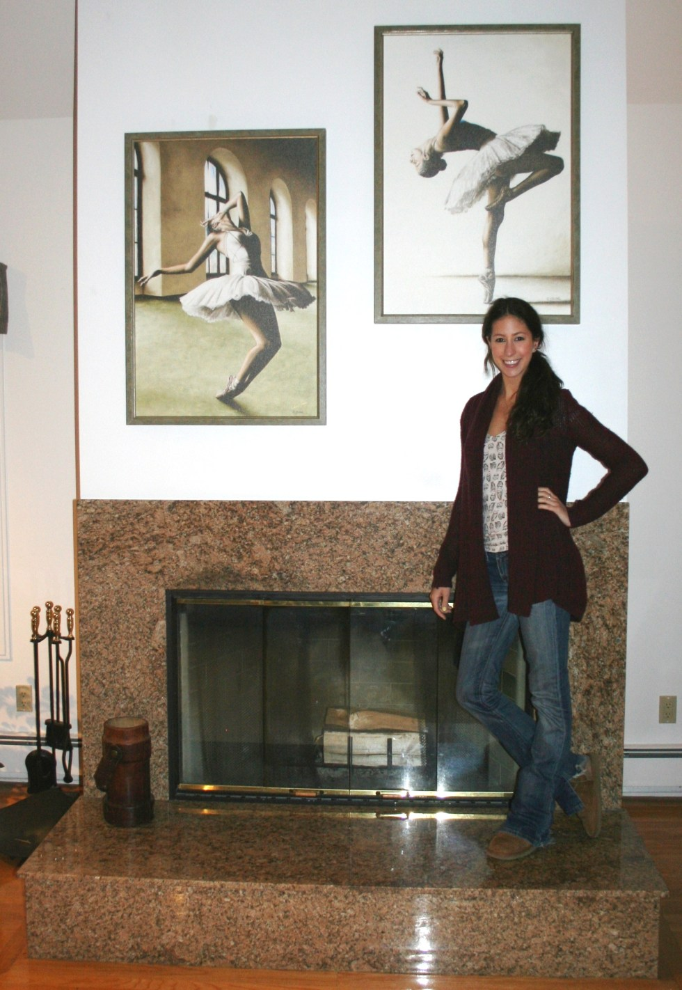How to order fine art. Ballerina Elana Lewis with prints of Reaching for Perfect Grace and Halcyon Ballerina in her USA home