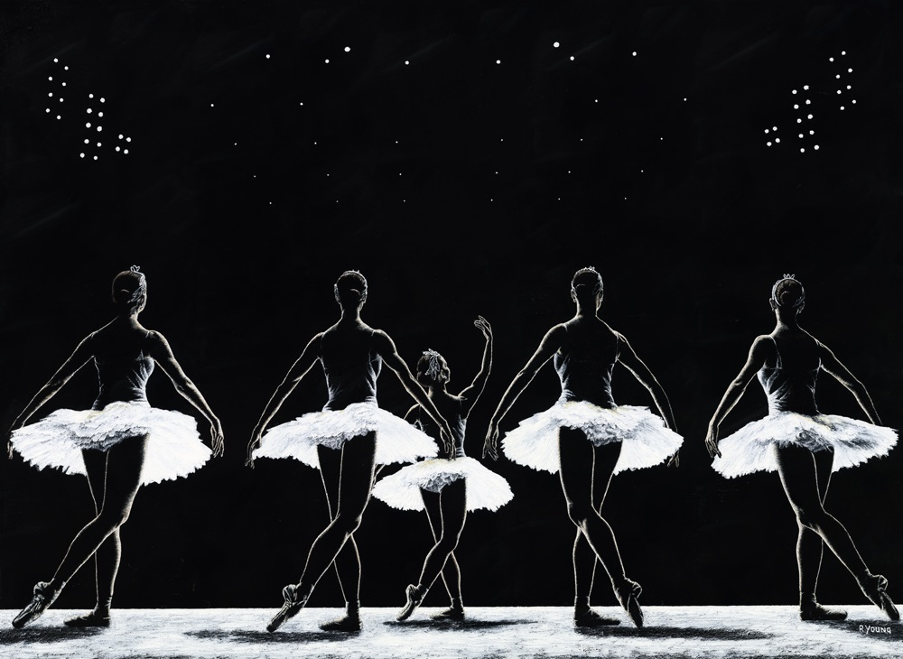 Dancers - Ballet Art Gallery. Dancing with the Stars. Fine art original oil painting on a stretched 122cm x 91cm canvas created in 2018 using a knife. Produced in cooperation with Getty. Original available. Framed = £3,085