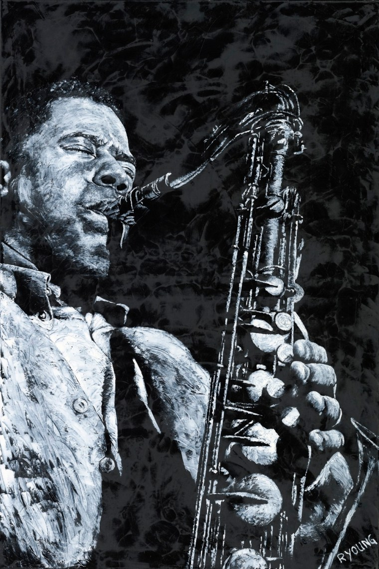 Musicians and Singers Art Gallery. The Passion of Sax - Wayne Shorter. Fine art original oil painting on a 91cm x 61cm stretched canvas created in 2019 using a knife. Produced in cooperation with Michael Cuscuna and Mosaic Records. Original available via Headrow Gallery, 588 Harrogate Road, Alwoodley, Leeds , West Yorkshire LS17 8DP. Contact Max on 07969575747. Framed = £1,495
