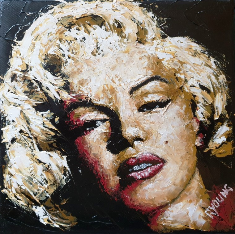 2019: Contemporary Art Fairs Prince's Trust charity oil painting - Some Like it Hot 2 - Marilyn Monroe