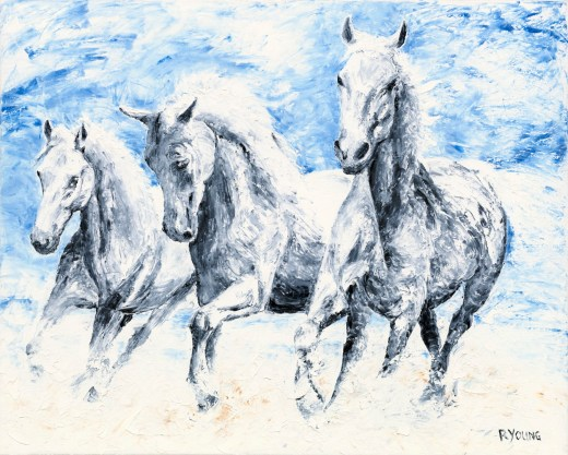 Equestrian-Fine-Art-Series. Free Spirits - Arabian horses. Fine art original oil painting on a 61cm x 76cm stretched canvas created in 2020 using a knife. Original available unframed as the sides of the stretched canvas are painted = £800