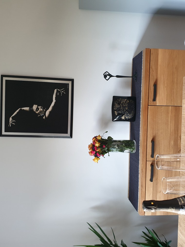 Flamenco Arms framed and hung in my home for display