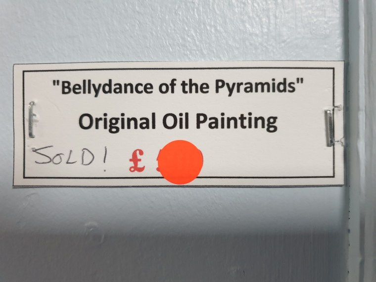 Fine art hung in the Royal Berkshire Hospital, for sale in aid of the NHS charity. SOLD painting 'Bellydance of the Pyramids'