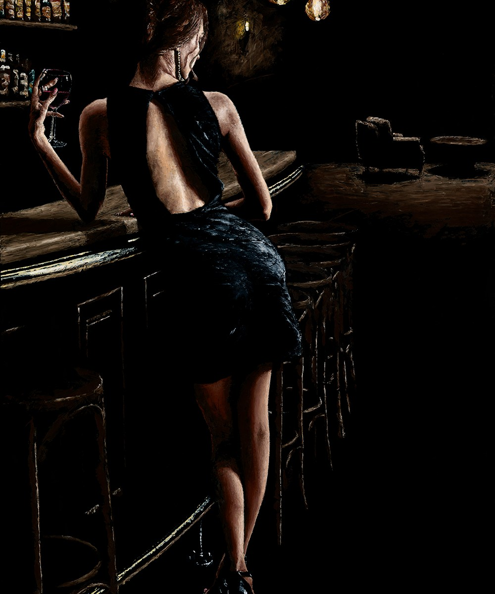 Late Night Deliberation. Fine art original oil painting on a 91cm x 61cm stretched canvas created using a knife. Original available.