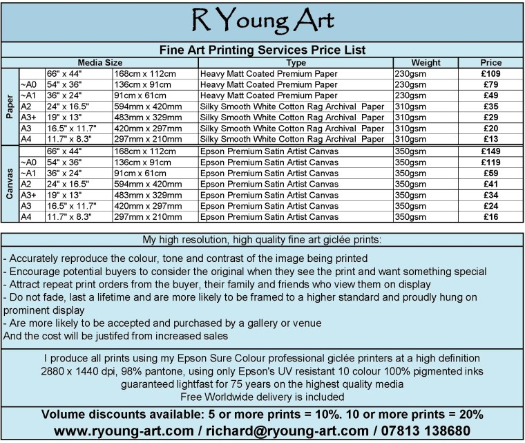 R Young Art Fine Art Printing Services Price List and Specifications