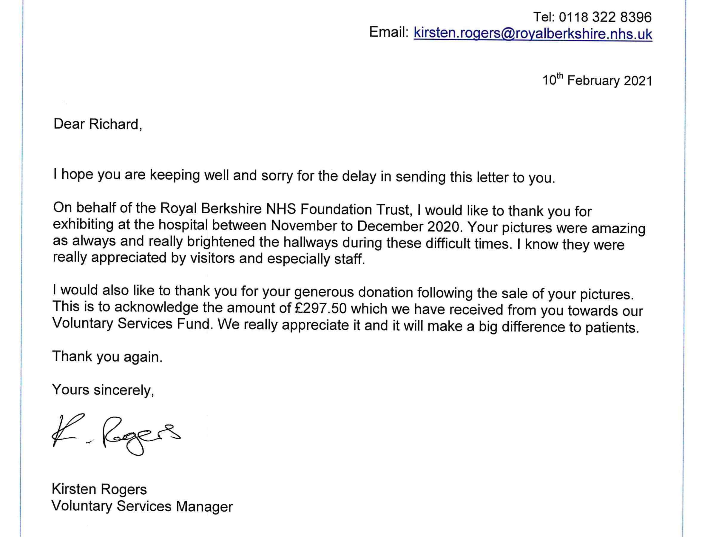 Voluntary Service thank you letter for the NHS Royal Berkshire Hospital Charity Exhibition