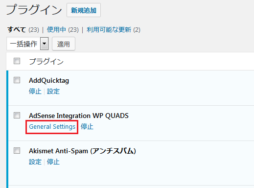 AdSense Plugin WP QUADS のメイン設定画面へ移行する直前