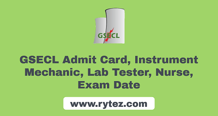 GSECL Instrument Mechanic Admit Card 2021