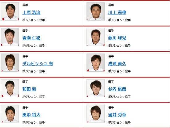 2008年北京五輪の野球の投手メンバー