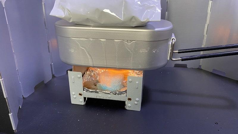 固形燃料で炊飯