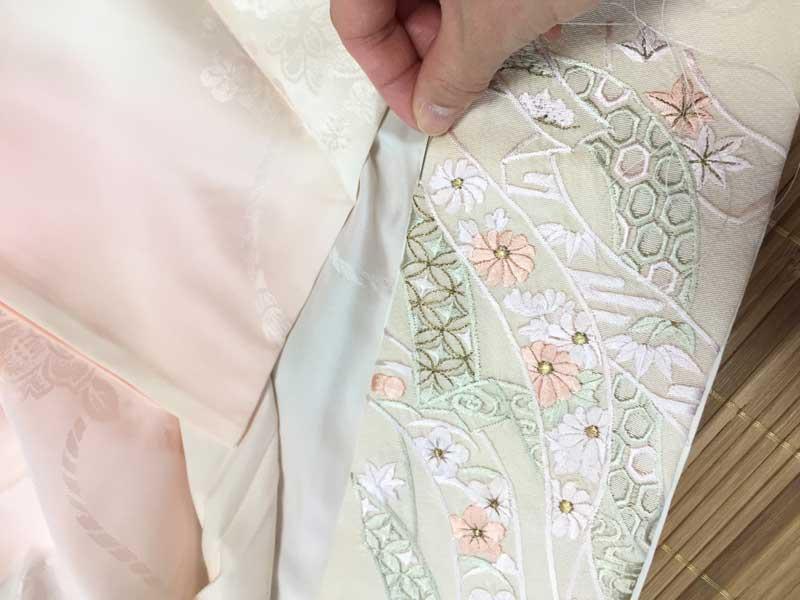 着物の半衿の縫わない付け替え法