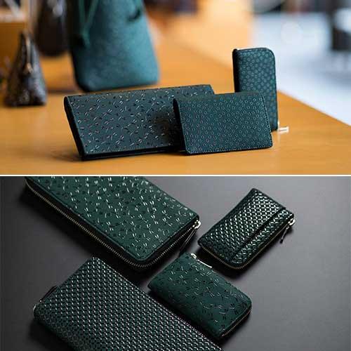 JIZAING×INDEN グリーン革の印伝