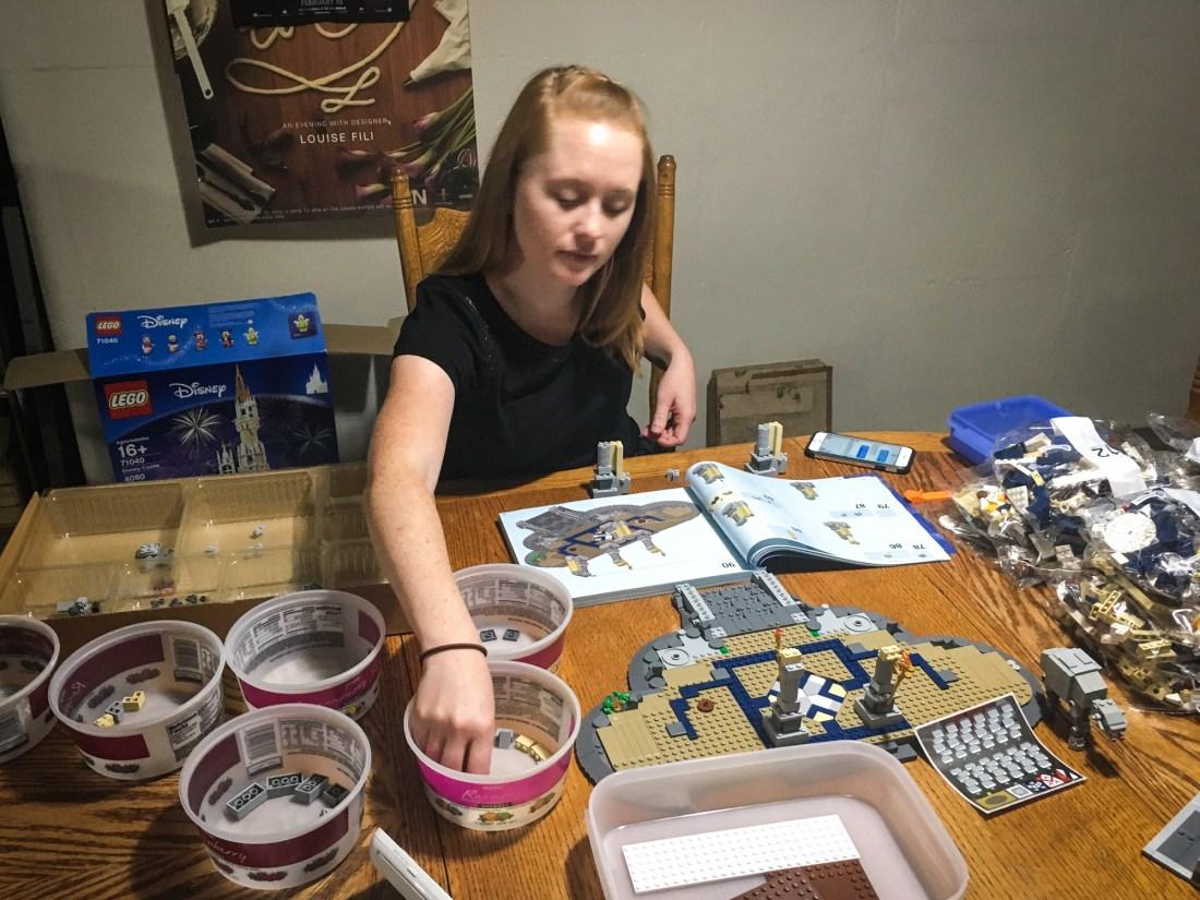 Katie, building the LEGO Disney Castle