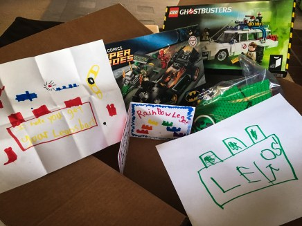 Box of lego and cards
