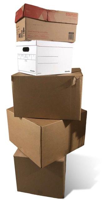 Cardboard boxes of bulk Lego bricks