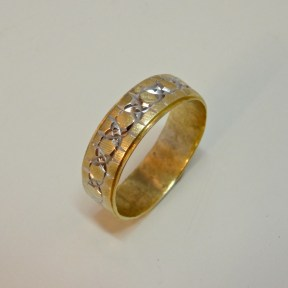 Sculpted Wedding Band, 14K Yellow Gold, Rhodium Plated