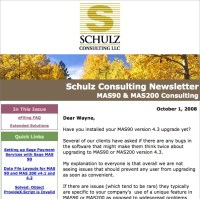 Schulz Consulting MAS90 Newsletter