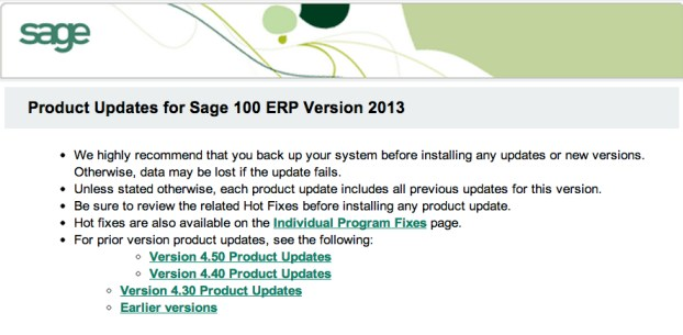 sage 100 erp product updates