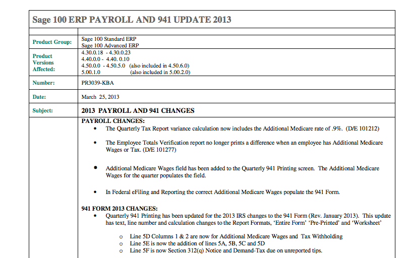 941 form 2013  Sage 13 ERP 13 Update for 13 Now Available
