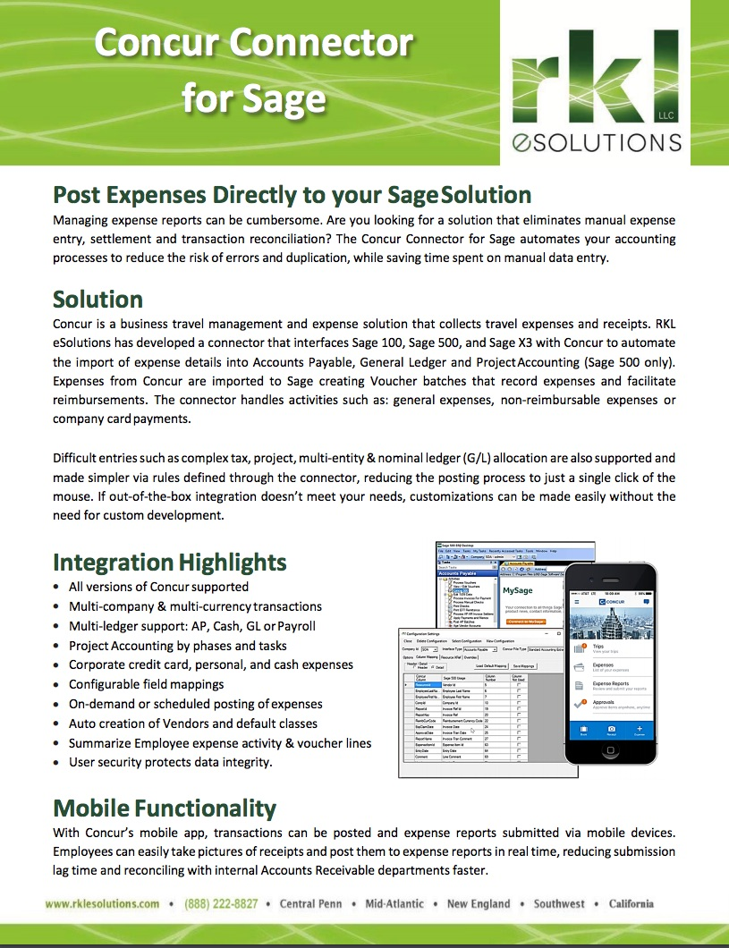 Expense Report Integration for Sage 100, 300, 500 and Sage X3