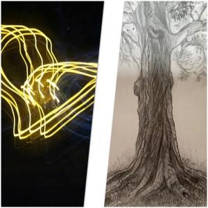 Collage de deux photos: dessin d'arbre et cœur en lumière