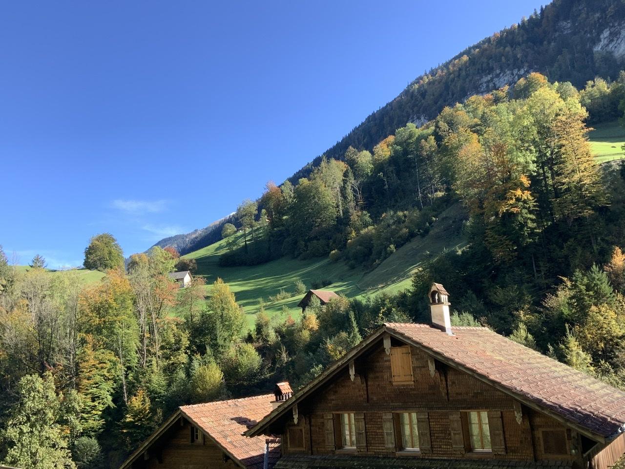 Paysage d'automne dans les Alpes Suisses avec le toit d'un chalet