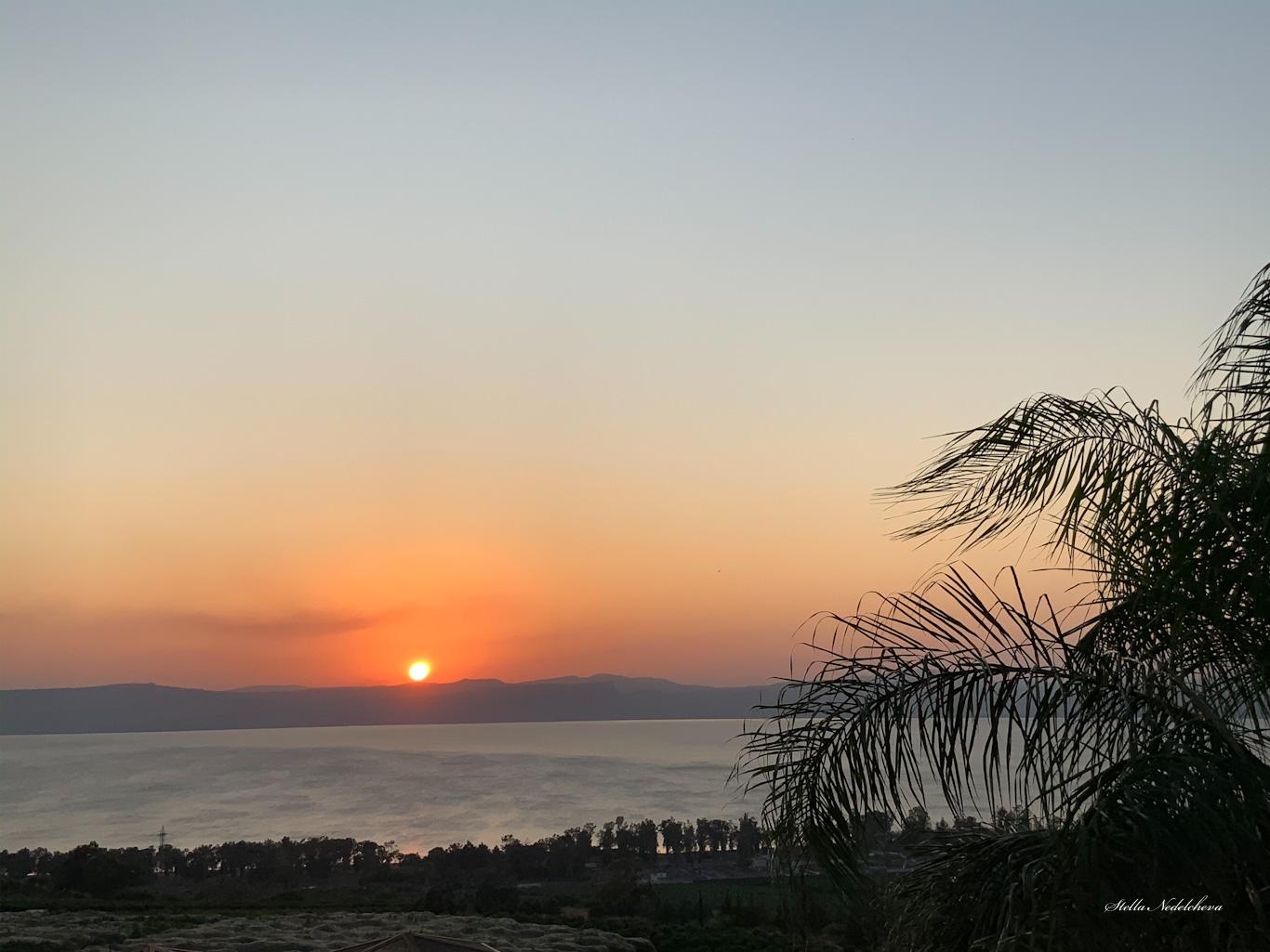 Coucher de soleil sur la mer de Galilée