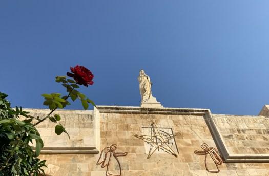 Une rose tendue vers la statue de Marie sur un fond de ciel bleu (Église de la Nativité - Bethlehem)