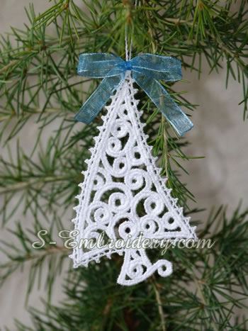 Christmas Tree Free Standing Lace Ornament SKU 10639