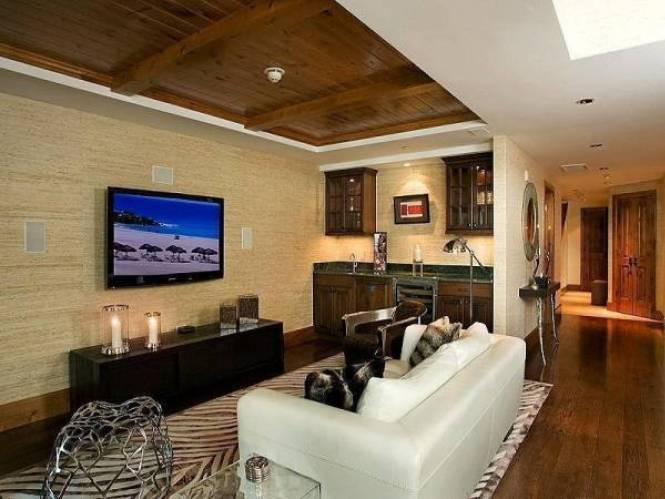 Large Wall Decorating Ideas Above Couch With Fl Art Decor And Flat Screen Tv On For Contemporary Living Room Design