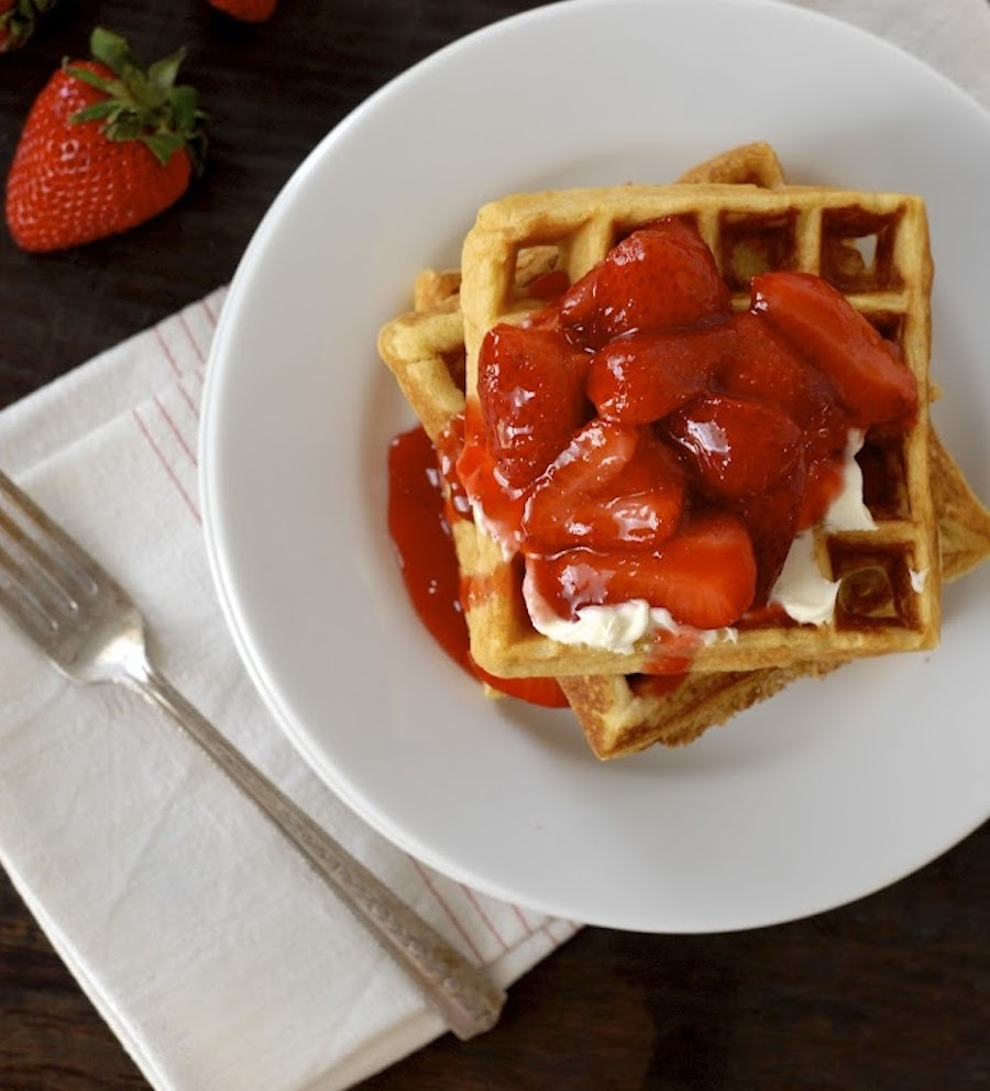 "<strong>Get the <a href=""http://kumquatblog.com/2012/05/frito-waffles-with-mascarpone-and-warm-strawberry-compote.html"" targe"