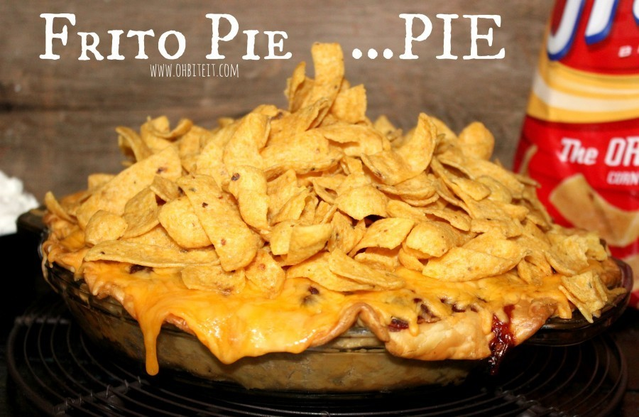 """<strong>Get the <a href=""""http://www.ohbiteit.com/2015/01/frito-pie-pie.html"""" target=""""_blank"""">Frito Pie Pie recipe</a> from Oh"""