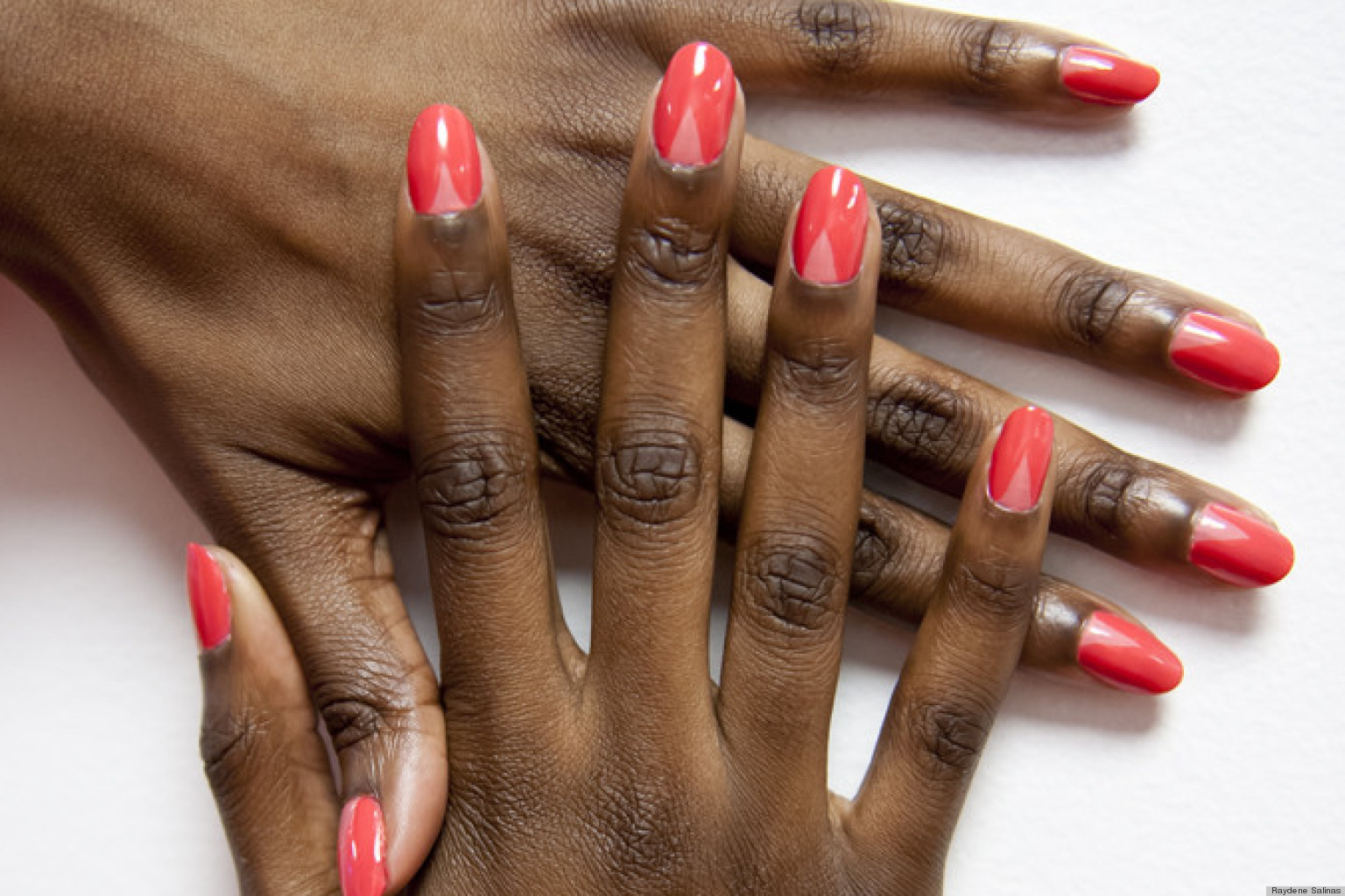 V Shaped Nail Art Why We Love The Modern Half Moon Manicure Photos Huffpost