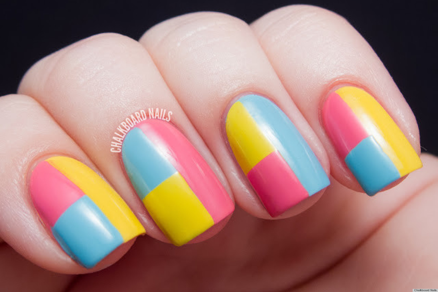Diy Nail Art A Colorblock Manicure With Mod Appeal Photos Huffpost