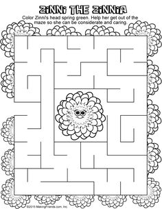 Zinnia Flower Printable Coloring And Activity Page For