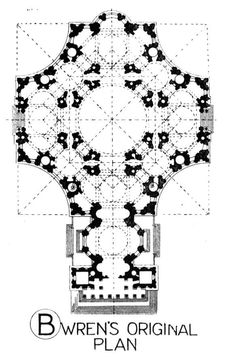 St. Pauls Cathedral-The original floor plan designed by ...