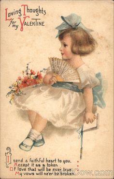 1917 Vintage Die Cut Valentines Day Greeting Card Used