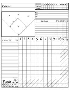 Printable PDF Baseball Scorecard Lineup Count Sheets Printable Sports Brackets Amp Printables