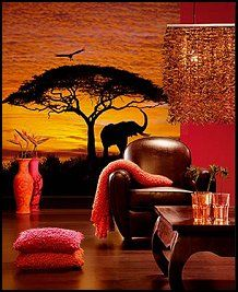 A Sunset Scene Of Charming Giraffes And Acacia Trees Create Calming View In The African