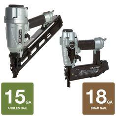 Hitachi 2-Tool 15-Gauge x 2.5 in. Angled Finish Nailer and 18-Gauge x ...