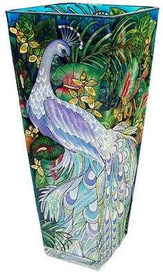 Amia 10 Inch Tall Hand Painted Glass Vase Featuring A