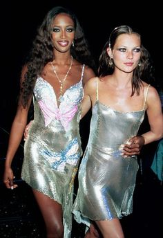 """Naomi Campbell and Kate Moss clubbing in spaghetti straps in the <a class=""""pintag searchlink"""" data-query=""""%2390s"""" data-type=""""hashtag"""" href=""""/search/?q=%2390s&rs=hashtag"""" title=""""#90s search Pinterest"""">#90s</a>"""