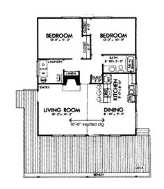 2 Bedroom Cabin Plans Two Hwbdo72605 House Plan From