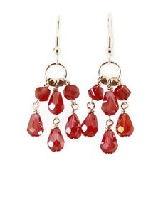 Ruby Crystal Chandelier Earrings With Faceted Brass Beads Silver Plated Handmade 22 00